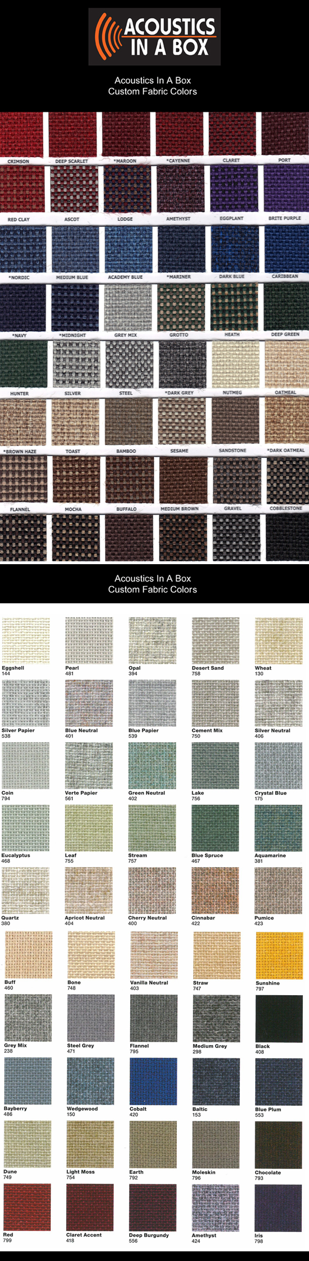 Custom Fabric Color Swatch